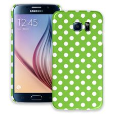 White Polka Dot on Lime Samsung Galaxy S6 ColorStrong Slim-Pro Case