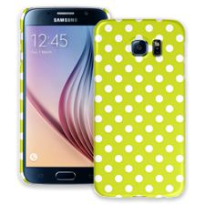 White Polka Dot on Sour Apple Samsung Galaxy S6 ColorStrong Slim-Pro Case