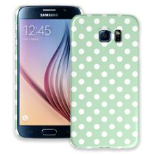 White Polka Dot on Spring Green Samsung Galaxy S6 ColorStrong Slim-Pro Case