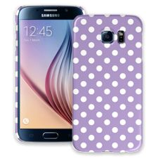 White Polka Dot on Lavender Samsung Galaxy S6 ColorStrong Slim-Pro Case