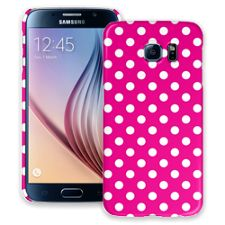 White Polka Dot on Hot Pink Samsung Galaxy S6 ColorStrong Slim-Pro Case