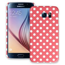 White Polka Dot on Coral Samsung Galaxy S6 ColorStrong Slim-Pro Case