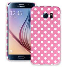White Polka Dot on Bubblegum Samsung Galaxy S6 ColorStrong Slim-Pro Case