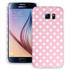 White Polka Dot on Baby Pink Samsung Galaxy S6 ColorStrong Slim-Pro Case