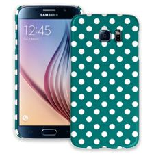White Polka Dot on Ocean Teal Samsung Galaxy S6 ColorStrong Slim-Pro Case