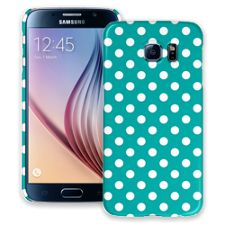 White Polka Dot on Turquoise Samsung Galaxy S6 ColorStrong Slim-Pro Case