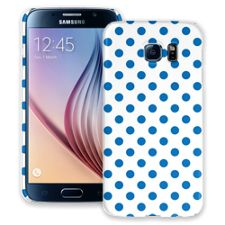 Blue Polka Dot on White Samsung Galaxy S6 ColorStrong Slim-Pro Case