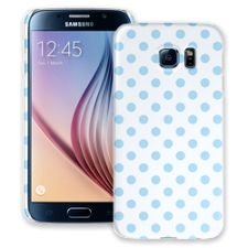 Baby Blue Polka Dot on White Samsung Galaxy S6 ColorStrong Slim-Pro Case