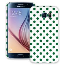 Forest Green Polka Dot on White Samsung Galaxy S6 ColorStrong Slim-Pro Case