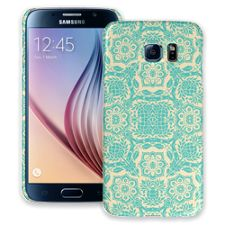 Blue on Cream Floral Damask Samsung Galaxy S6 ColorStrong Slim-Pro Case