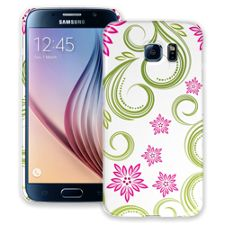 Pink Floral and Green Swirls Samsung Galaxy S6 ColorStrong Slim-Pro Case