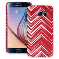 Red & White Scribble Chevron Samsung Galaxy S6 ColorStrong Slim-Pro Case