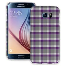 Minimalist Purple & Grey Plaid Samsung Galaxy S6 ColorStrong Slim-Pro Case