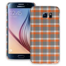 Minimalist Orange & Grey Plaid Samsung Galaxy S6 ColorStrong Slim-Pro Case