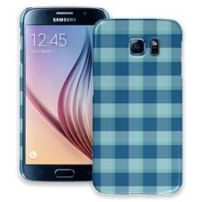 Blue Checkered Plaid Samsung Galaxy S6 ColorStrong Slim-Pro Case