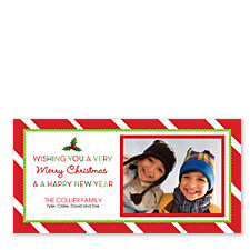 Diagonal Red Stripe Christmas Photo Cards