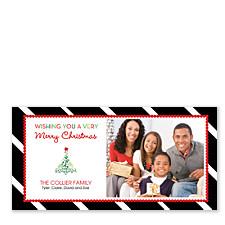 Diagonal Black Stripe Christmas Photo Cards