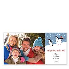 Curious Penguins Horizontal Holiday Photo Cards