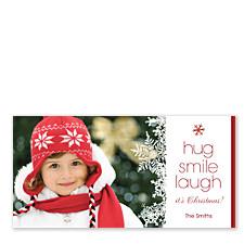 Hug Smile Laugh Christmas Photo Cards