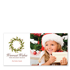 Warmest Wishes Wreath Photo Christmas Cards