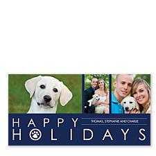 Paws Blue Christmas Photo Cards