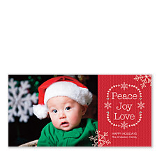 Flake Wreath Christmas Photo Cards