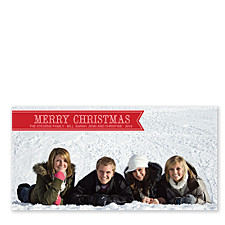 Red Banner Photo Christmas Cards