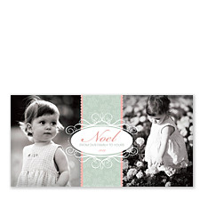 Oval Noel Christmas Photo Cards