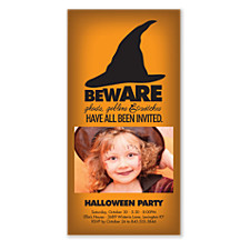 Beware Halloween Photo Invitation Cards