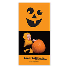 Smiling Pumpkin Halloween Photo Cards