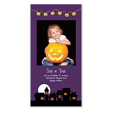 Jack-O-Lantern Halloween Photo Invitation Cards