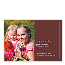 Joy and Thanks Thanksgiving Photo Invitation Cards