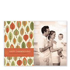 Leaf Pattern Thanksgiving Photo Cards