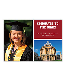 City Lights Harvard Red Photo Graduation Announcements