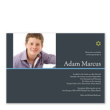 Modern Star Photo Bar Mitzvah Invitations
