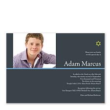 Modern Star Photo Bar Mitzvah Invitations