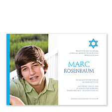 Blue Simple Star Bar Mitzvah Invitations