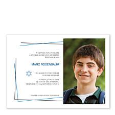 Blue Border Photo Bar Mitzvah Invitations