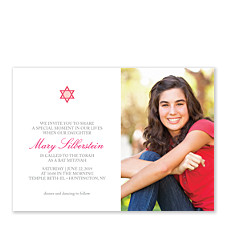 Pink Simple Star Photo Bat Mitzvah Invitations