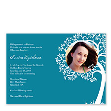 Tree of Life Photo Bat Mitzvah Invitations