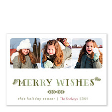 Merry Wishes Photo Holiday Cards