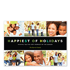 Modern Holiday Green Photo Cards