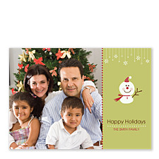 Adorable Snowman Photo Holiday Cards