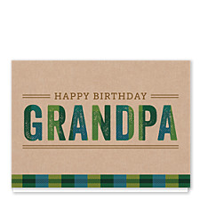 Plaid Grandpa Birthday Cards