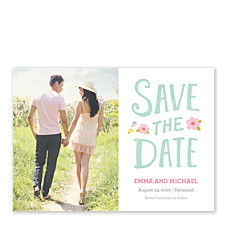 Paper Flowers Save the Date Cards