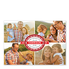 Red Seal Collage Christmas Photo Cards