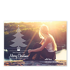 Tree Lined Photo Christmas Cards