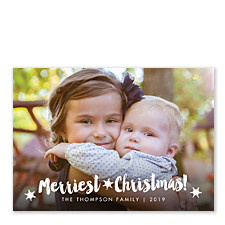 Brushed Snowflake Christmas Photo Cards