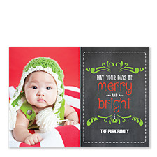 Merry & Bright Chalkboard Christmas Photo Cards