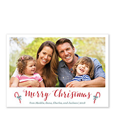 Simple Canes Photo Christmas Cards
